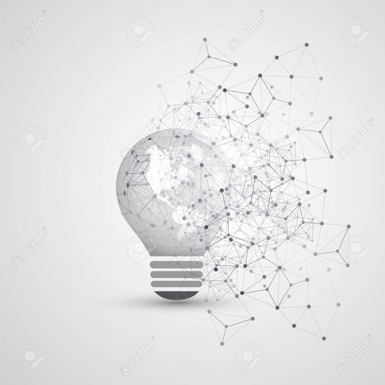 Abstract Electricity, Cloud Computing and Global Digital Network Connections Concept Design with Earth Globe Inside of a Light Bulb, Transparent Geometric Mesh - 121011210