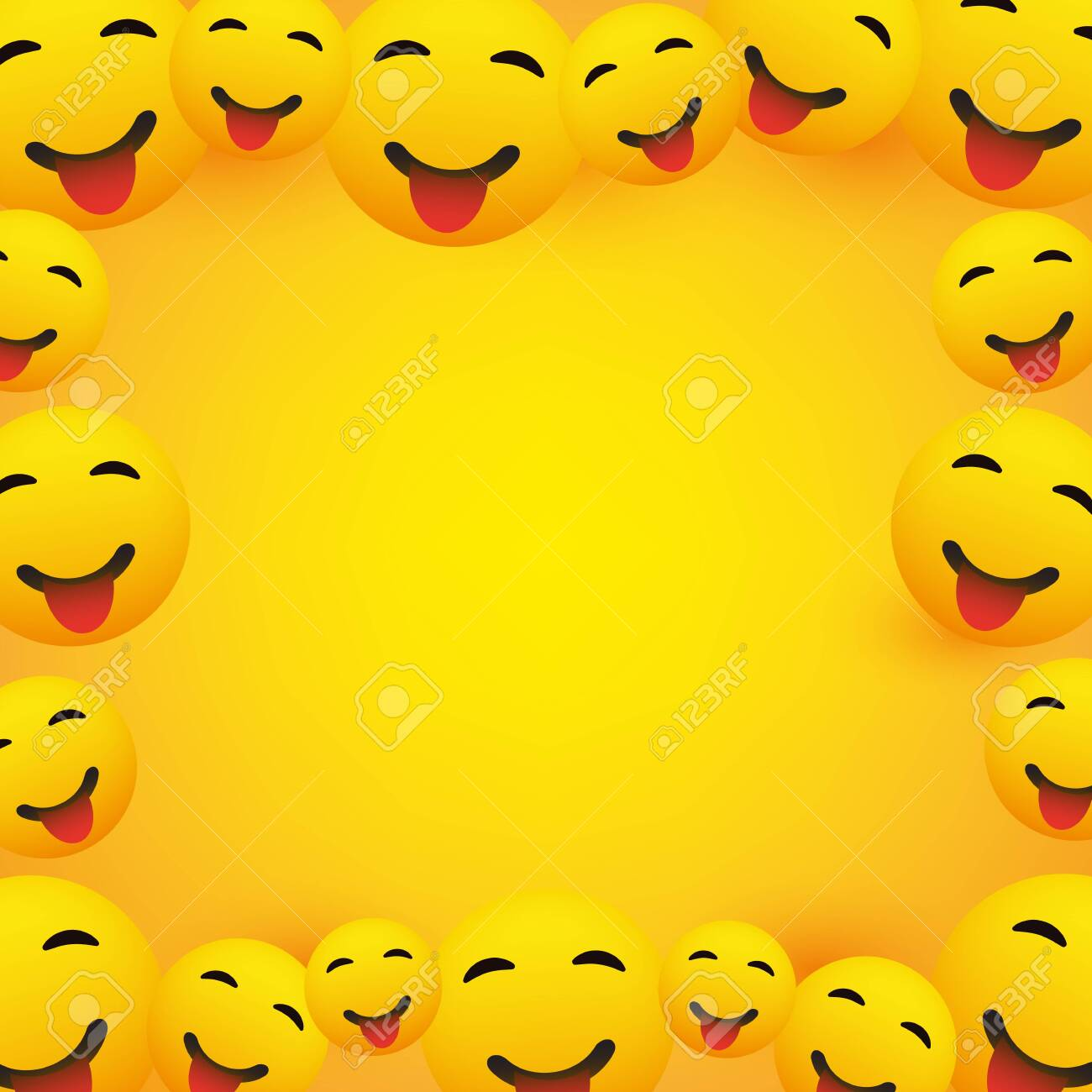 Background Frame With Smiling Emoji With Stuck Out Tongue Royalty Free Cliparts Vectors And Stock Illustration Image 126858552
