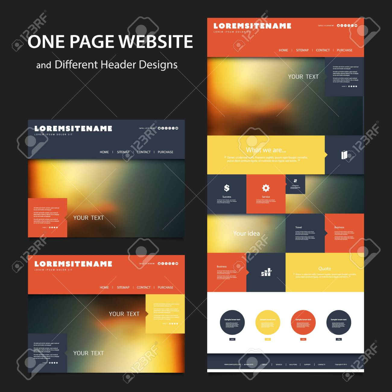 Colorful One Page Website Template - Various Header Designs with Blurred Backgrounds - 131707492