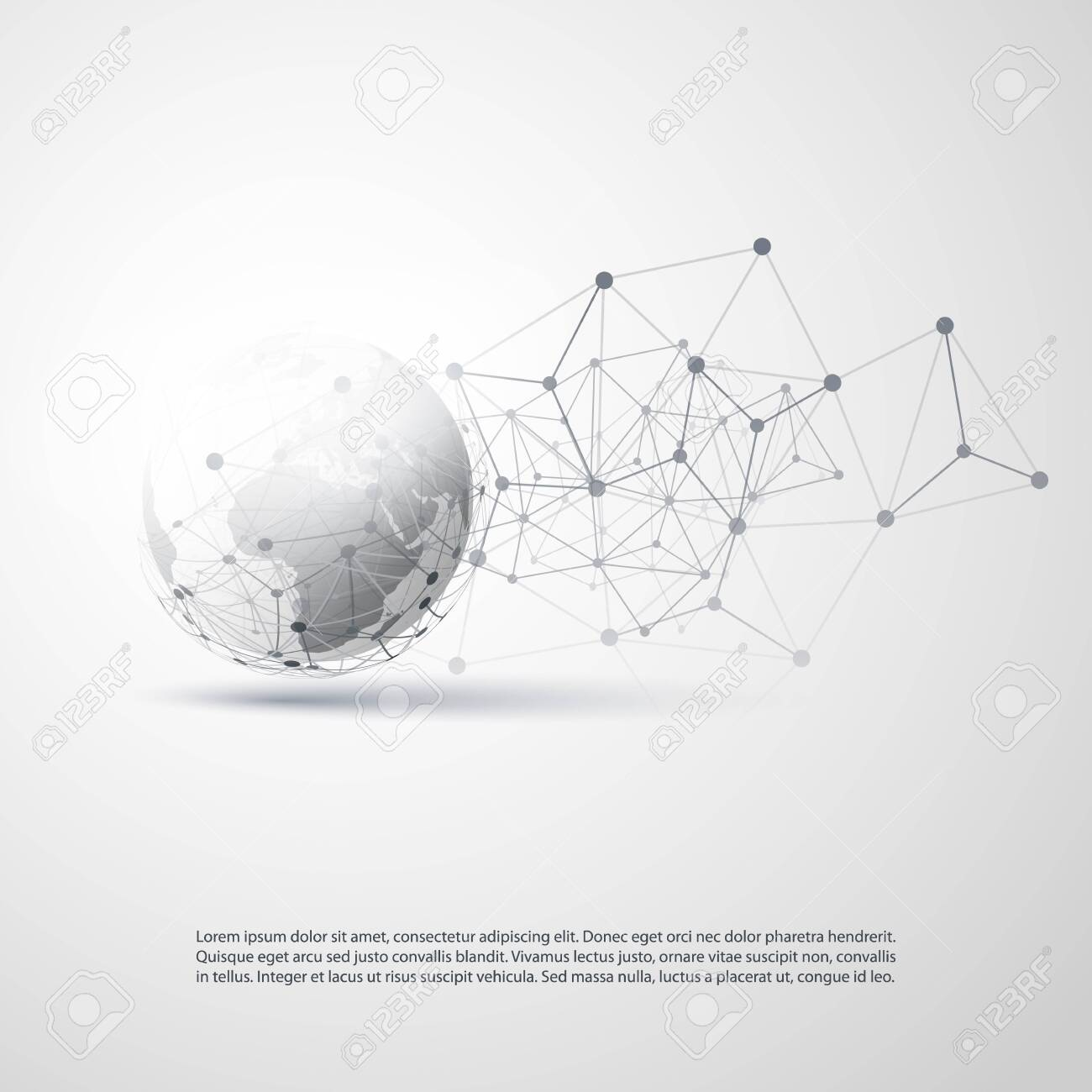 Black and White Modern Minimal Style Cloud Computing, Global Networks Structure - Telecommunications Concept Design, Connections, Transparent Geometric Wireframe - Vector Illustration - 134755120