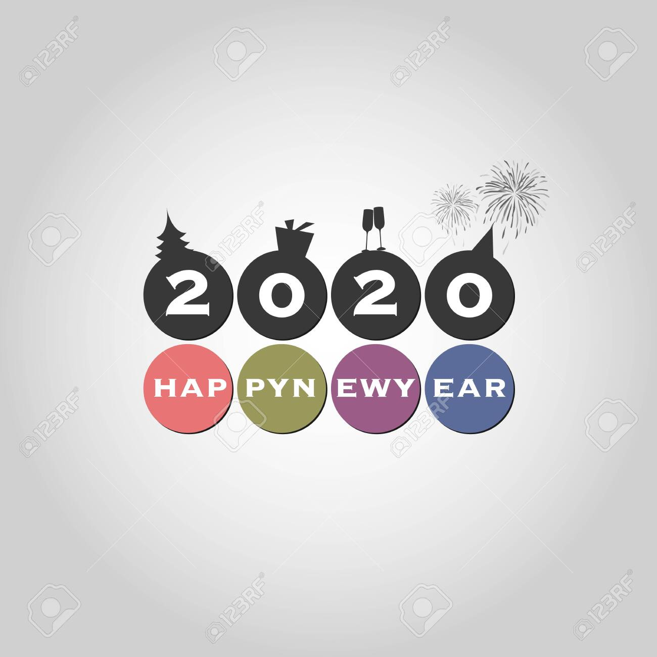 Best Wishes - Modern Simple Minimal Happy New Year Card or Cover Background Template - 2020 - 134876411