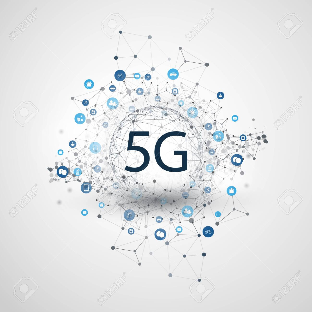 5G Network Label with Wireframe Sphere, Mesh and Icons -Abstract Futuristic High Speed, Broadband Mobile Telecommunication and Wireless Internet Design Concept - 140207138
