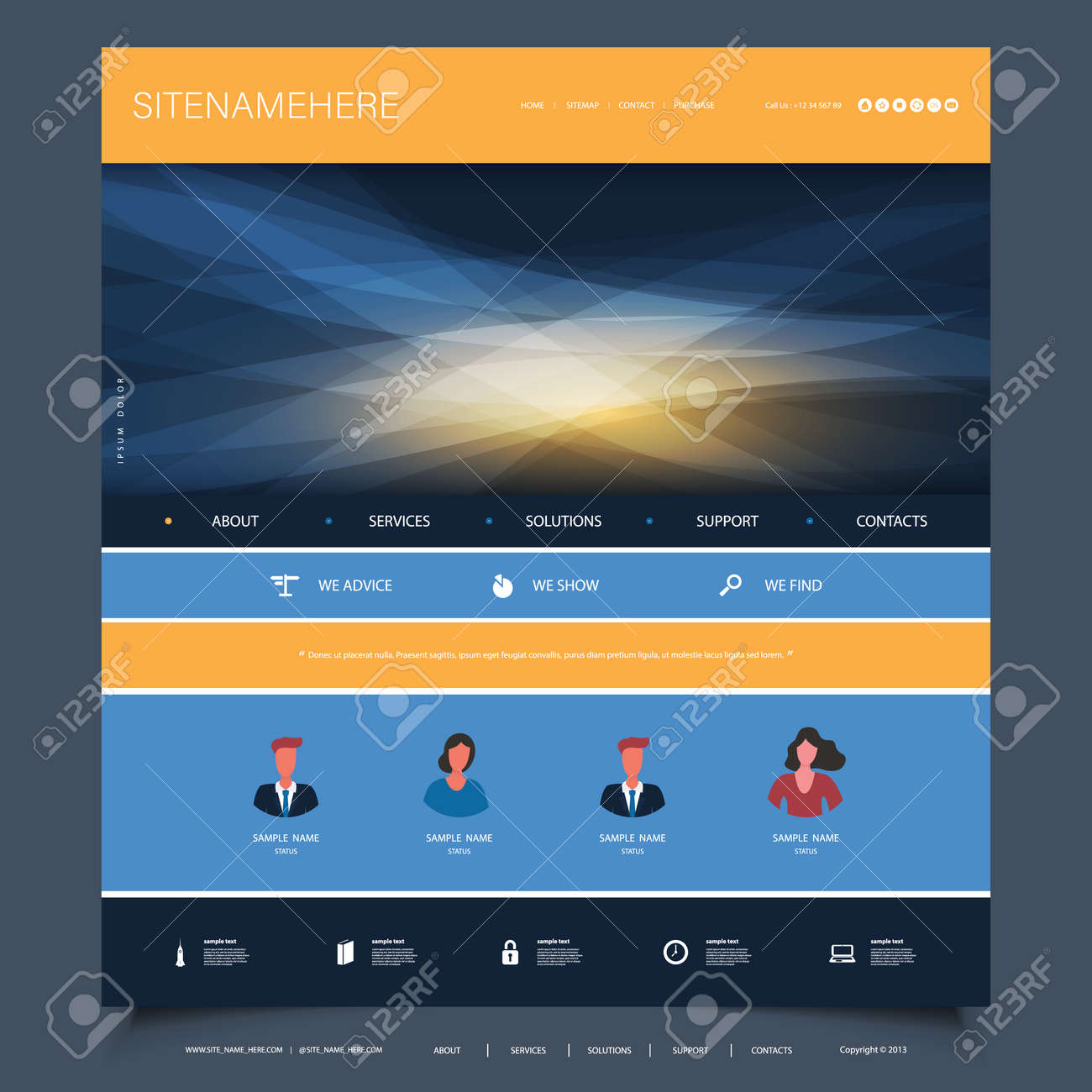 Website Design Template for Your Business with Orange and Blue Wavy Gradient Texture in the Header - 150500908