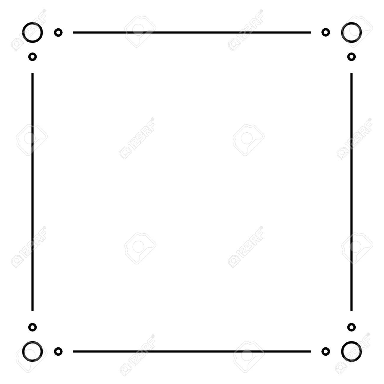 Black Geometric Frame Isolated on White - Geometrical Art Deco Style Template for Invitation Cards, Flyers - Line-Art Vector Design - 153677012
