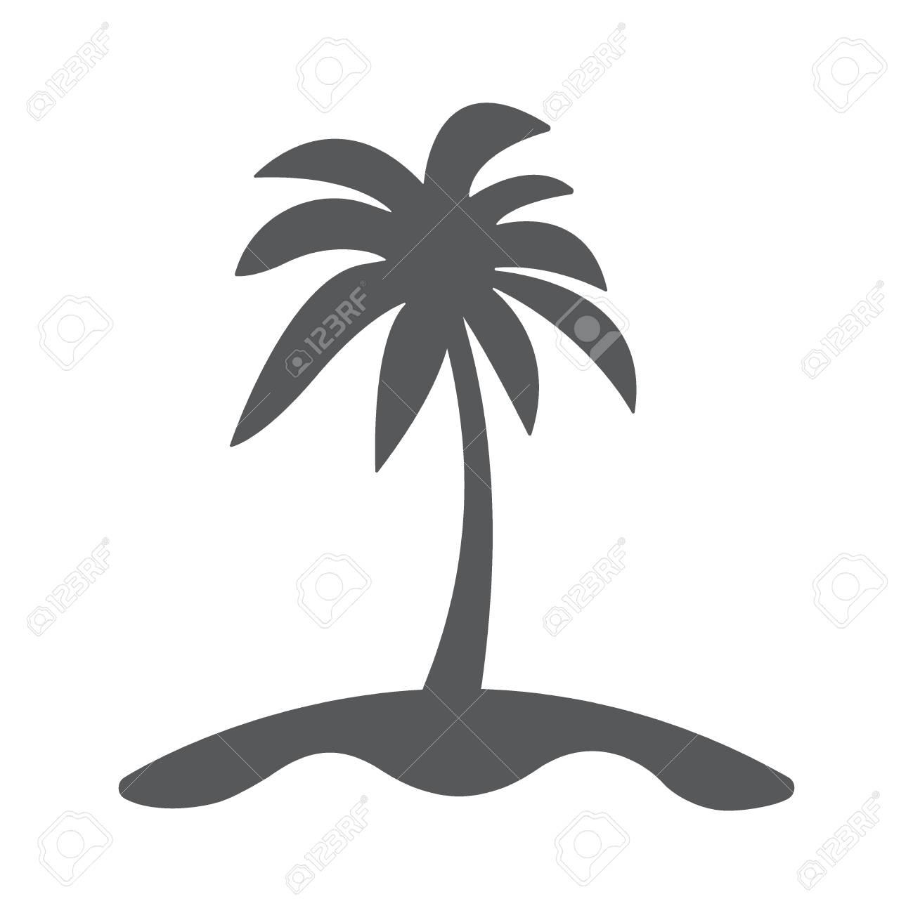 ヤシの木とフラット島アイコン。...