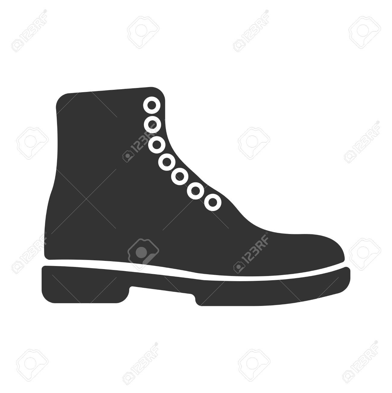 Simple black vector boots icon. Concept tourism, store, shop.