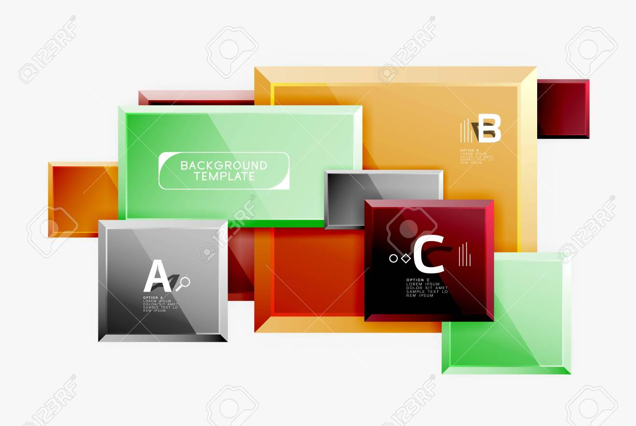 Geometrical design squares abstract banner, glossy shiny effects. Vector geometric minimal template - 123395303