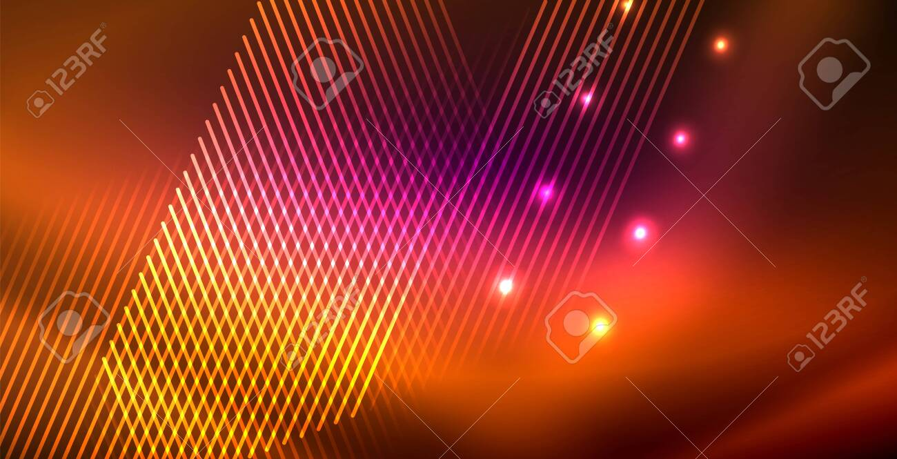 Neon Glowing Lines Magic Energy Space Light Concept Abstract Background Wallpaper Design Vector Illustration