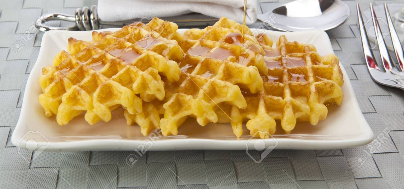 Fresh Waffles and honey Stock Photo - 5366219