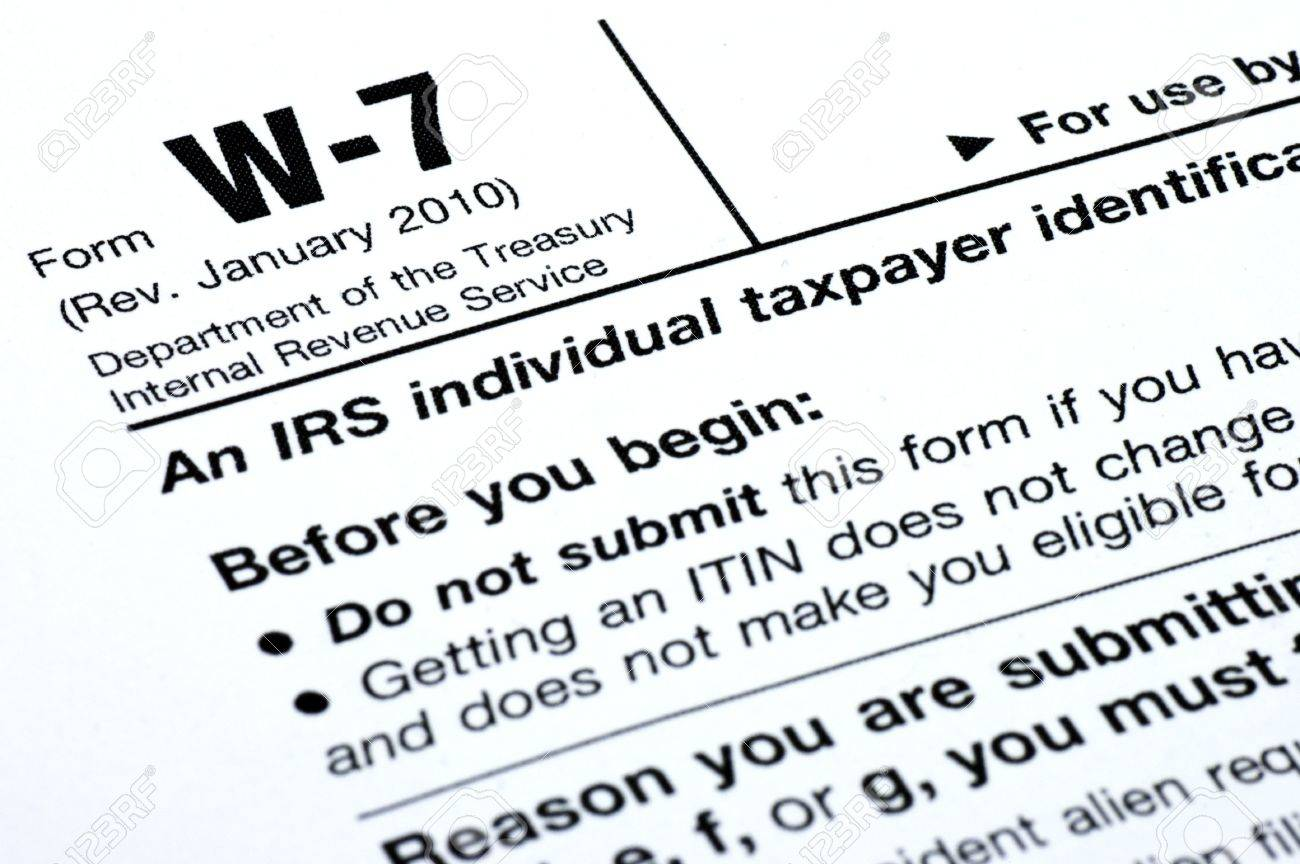 A Closeup Of Parts Of The Irs Form W-7 Stock Photo, Picture And ...