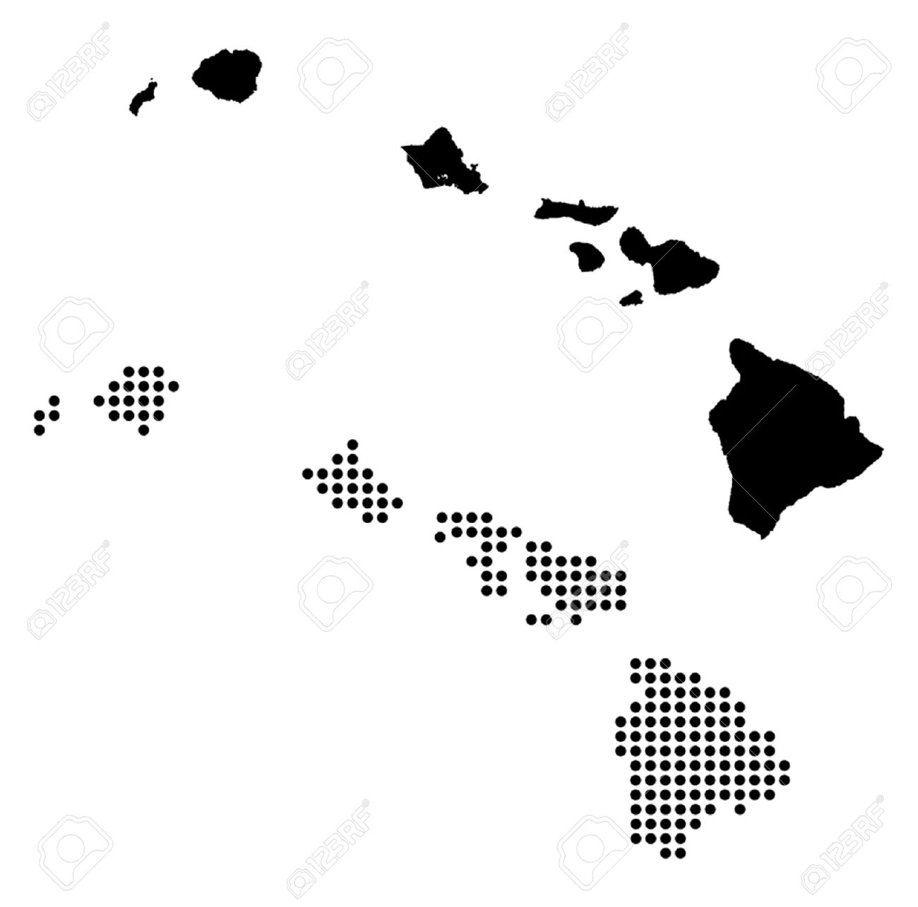 Dotted And Silhouette Hawaii Map Royalty Free Cliparts Vectors And
