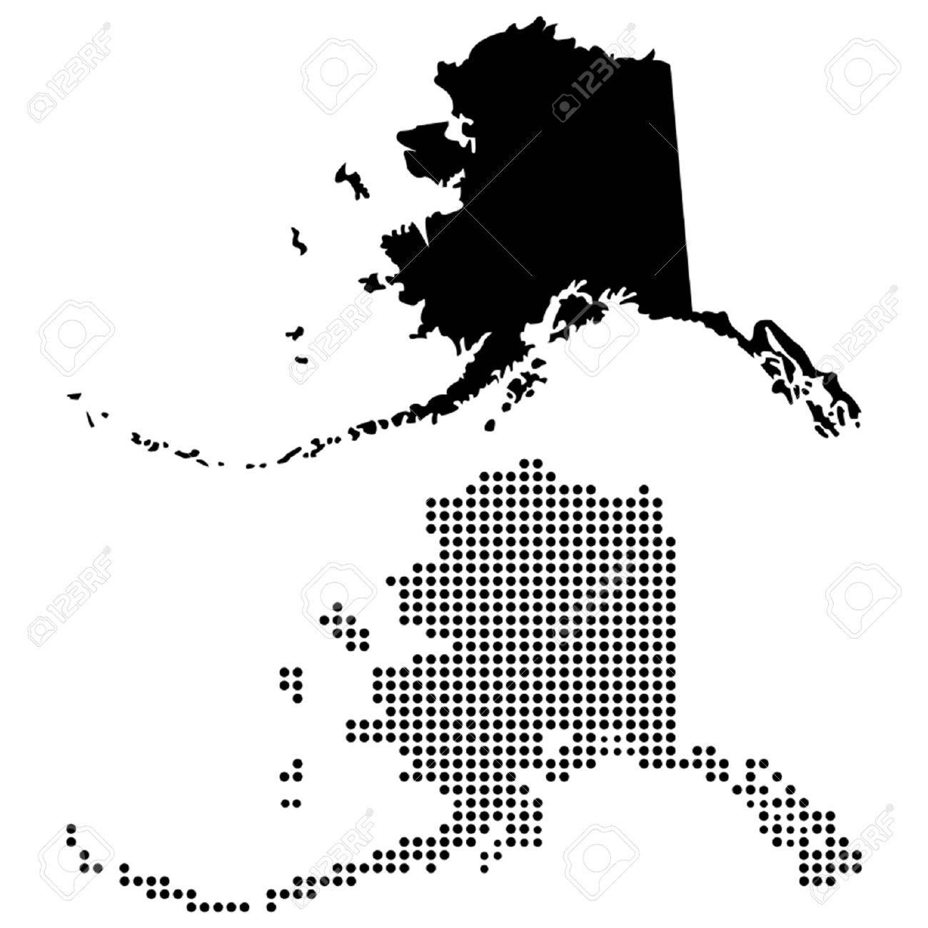 Dotted And Silhouette Alaska Map Royalty Free Cliparts Vectors And
