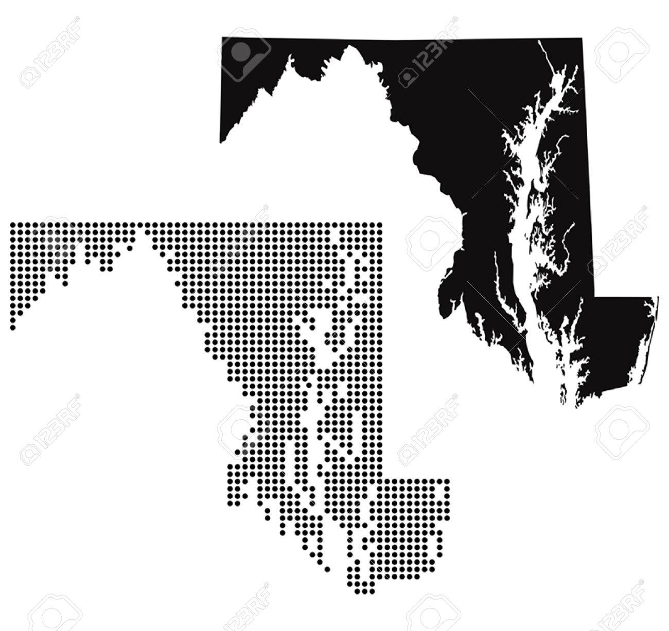 Dotted And Silhouette Maryland Map Royalty Free Cliparts Vectors