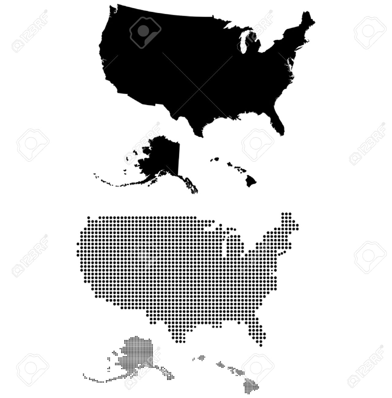Dotted And Silhouette United States Map Royalty Free Cliparts ...