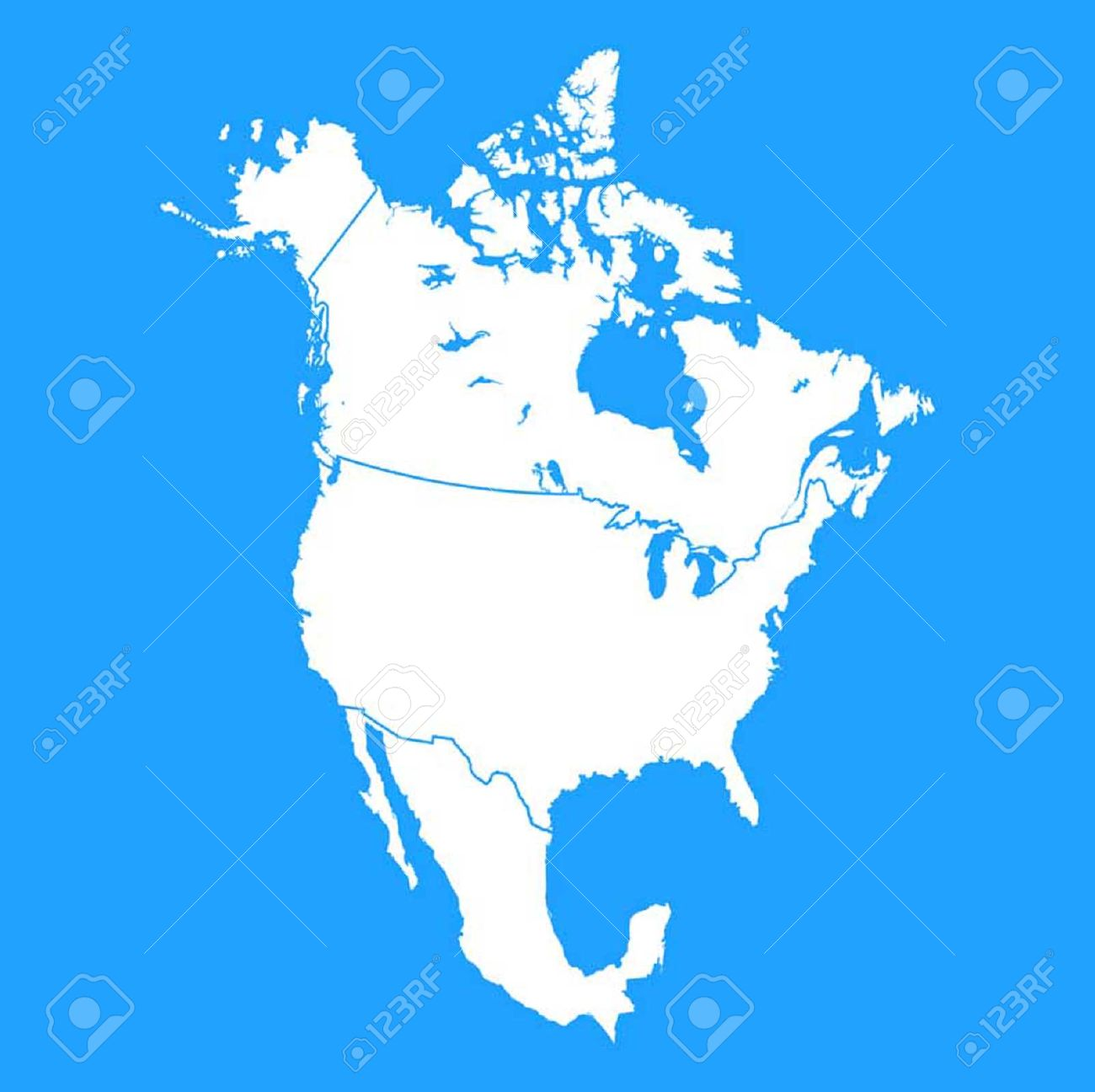 North America Map Including US Mexico And Canada Royalty Free - Canada north america map
