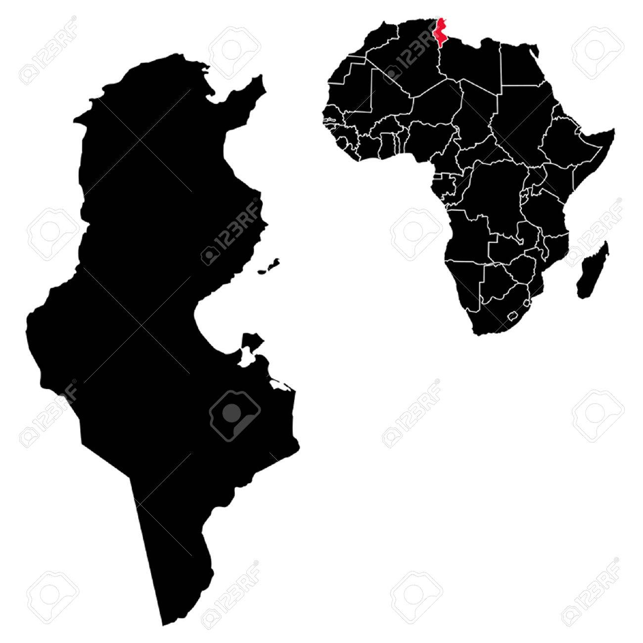 Picture of: Vector Tunisia Map On Africa Royalty Free Cliparts Vectors And Stock Illustration Image 35428315
