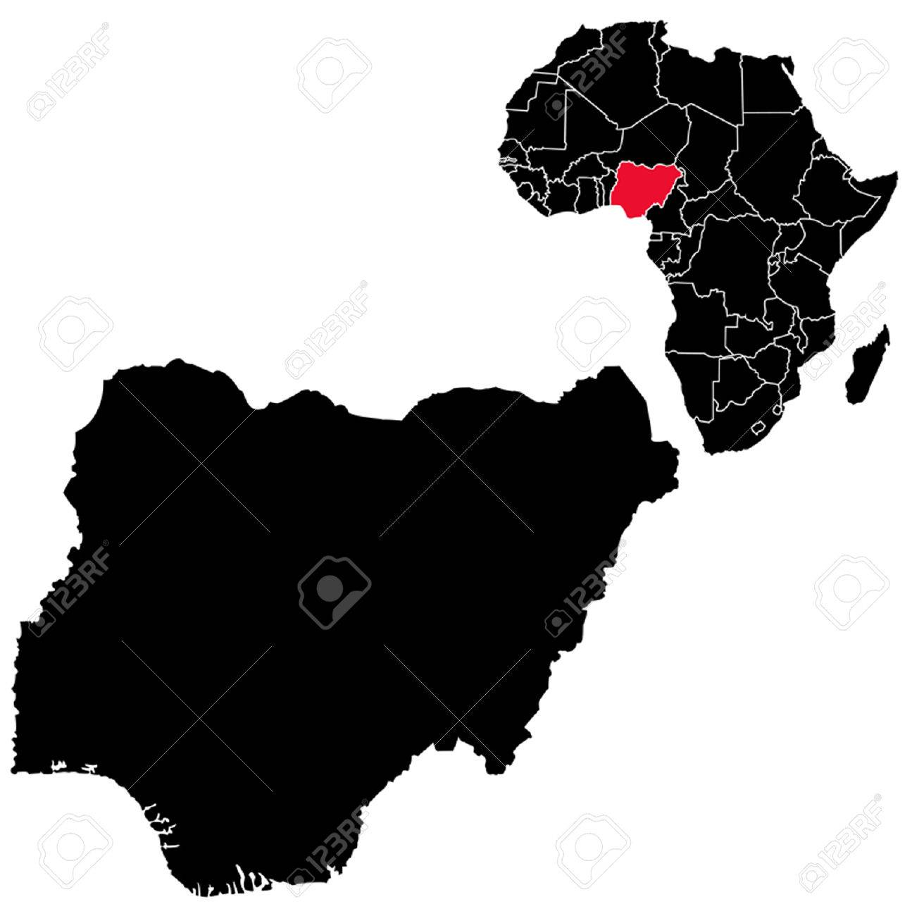 Vector Nigeria Map On Africa Royalty Free Cliparts Vectors And