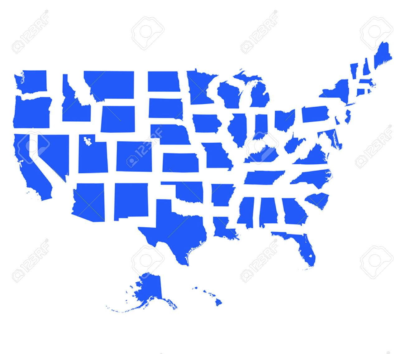 Usa Map And All States Illustration Royalty Free Cliparts - Map of all the states