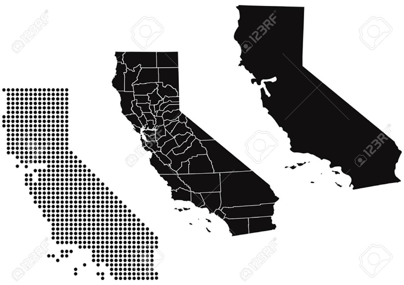Dotted And Silhouette State Of California Map Royalty Free Cliparts