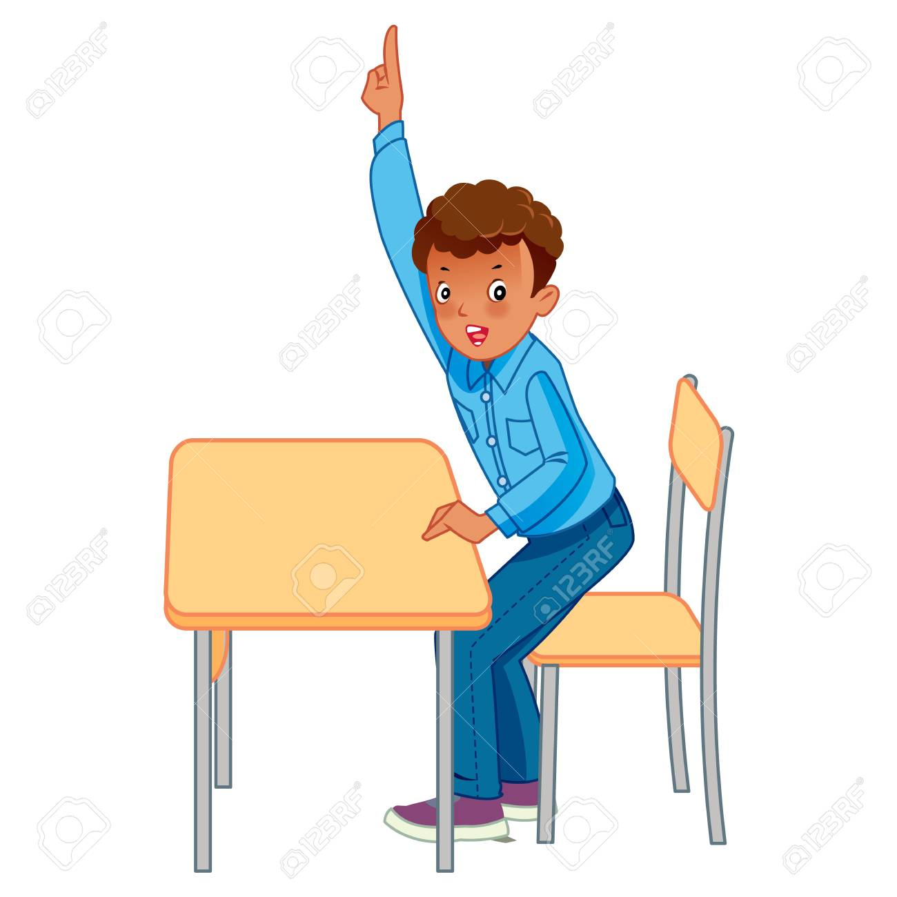 Cute pupils raising hands in elementary school - Vector - 102344993