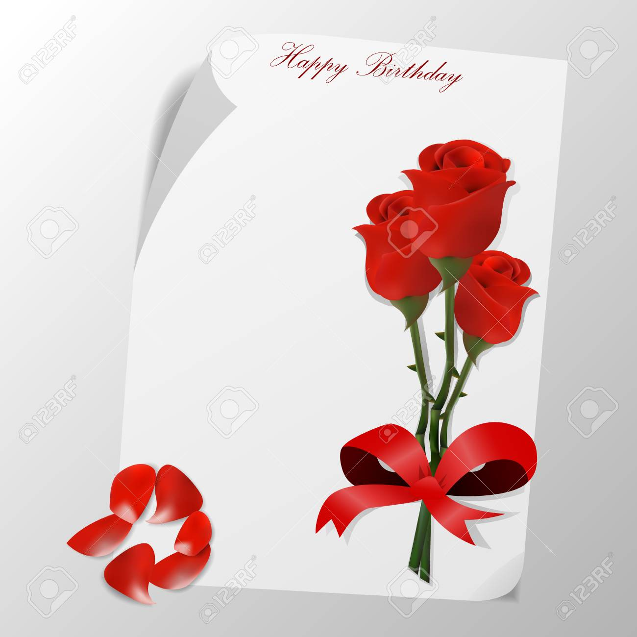 Happy Birthday Card With Roses Flower Stock Photo