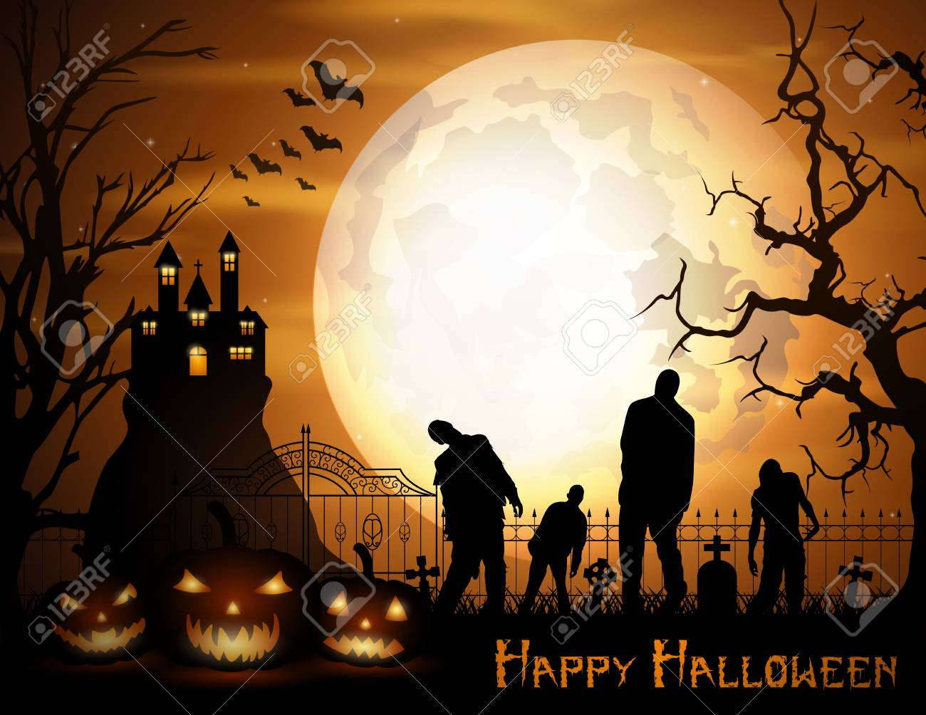 Halloween background with pumpkins, zombie, and scary church