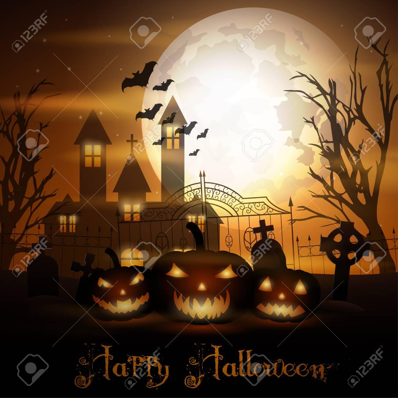 Halloween Chiesa.Priorita Bassa Di Halloween Con Le Zucche E La Chiesa Spaventosa Sul Cimitero