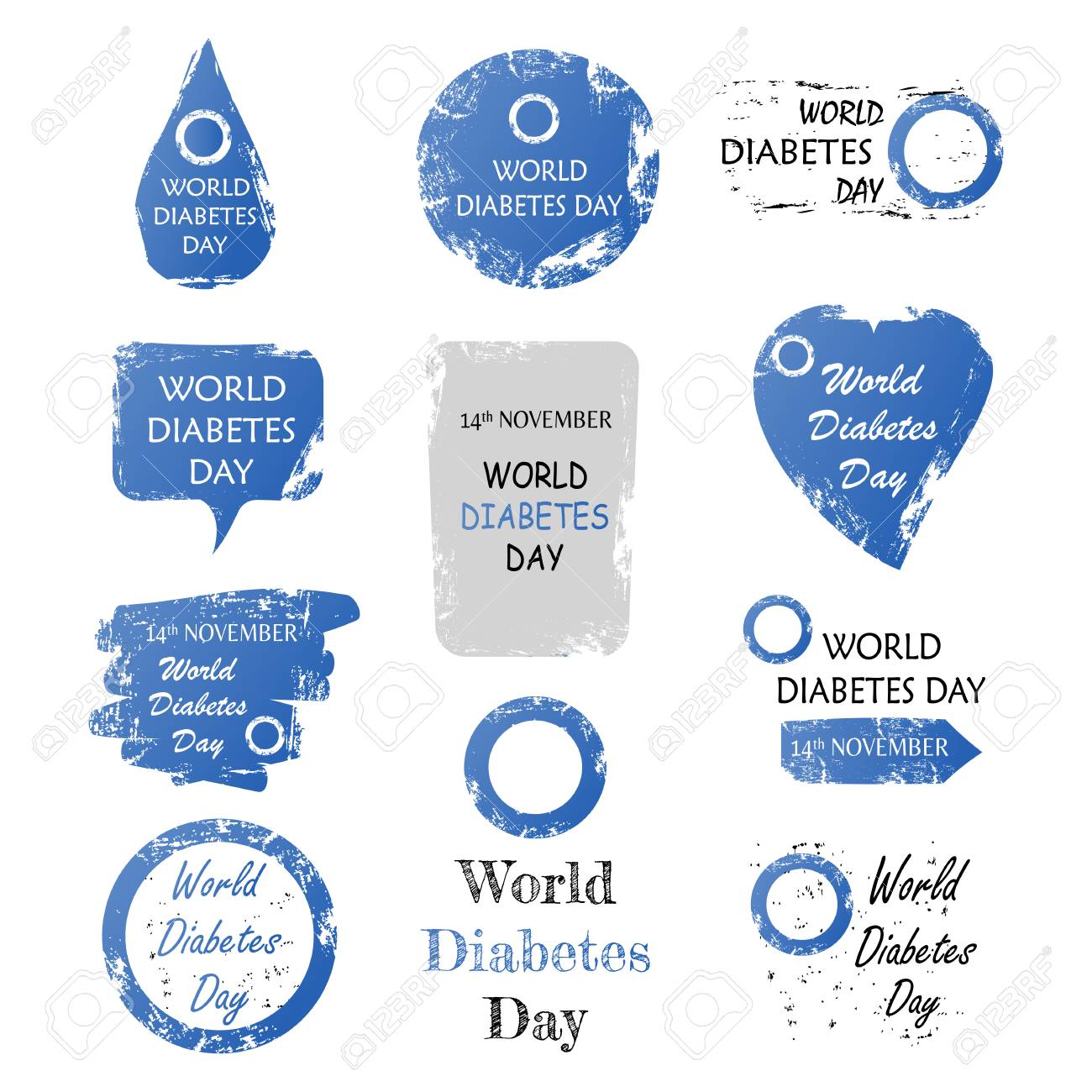 Vector illustration of Set of world diabetes day sign with grunge shape - 88052100