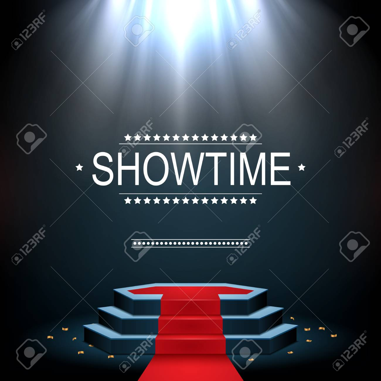Vector illustration of Showtime banner with podium and red carpet illuminated by spotlights - 99097322