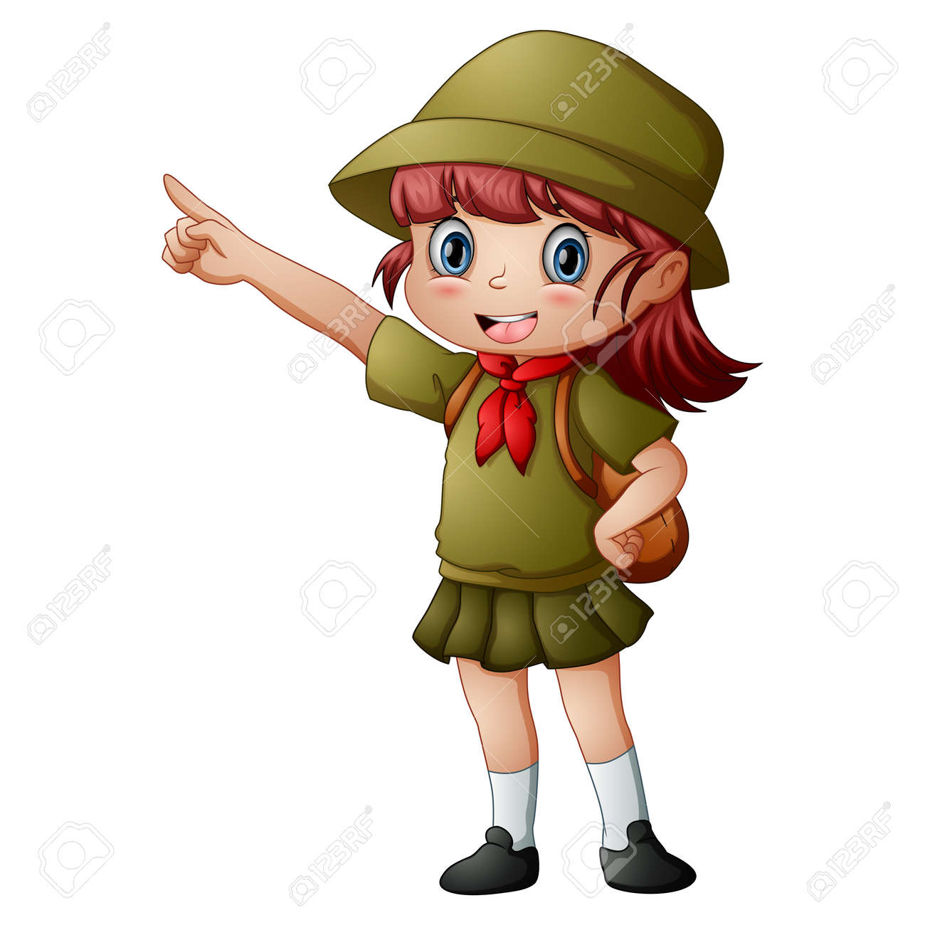 Scout girl standing with pointing - 168266511