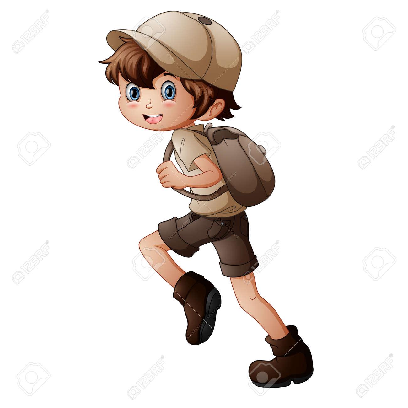 Happy scout boy running - 168266512