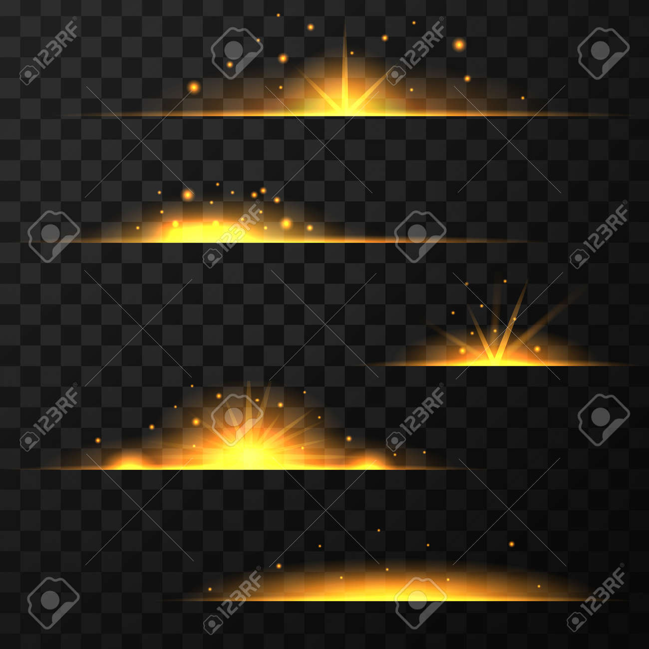 Gold light effect isolated on transparent background - 168266514