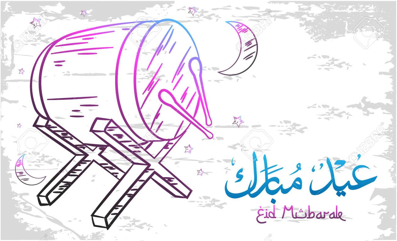 Eid mubarak greeting card on doodle style - 168266528