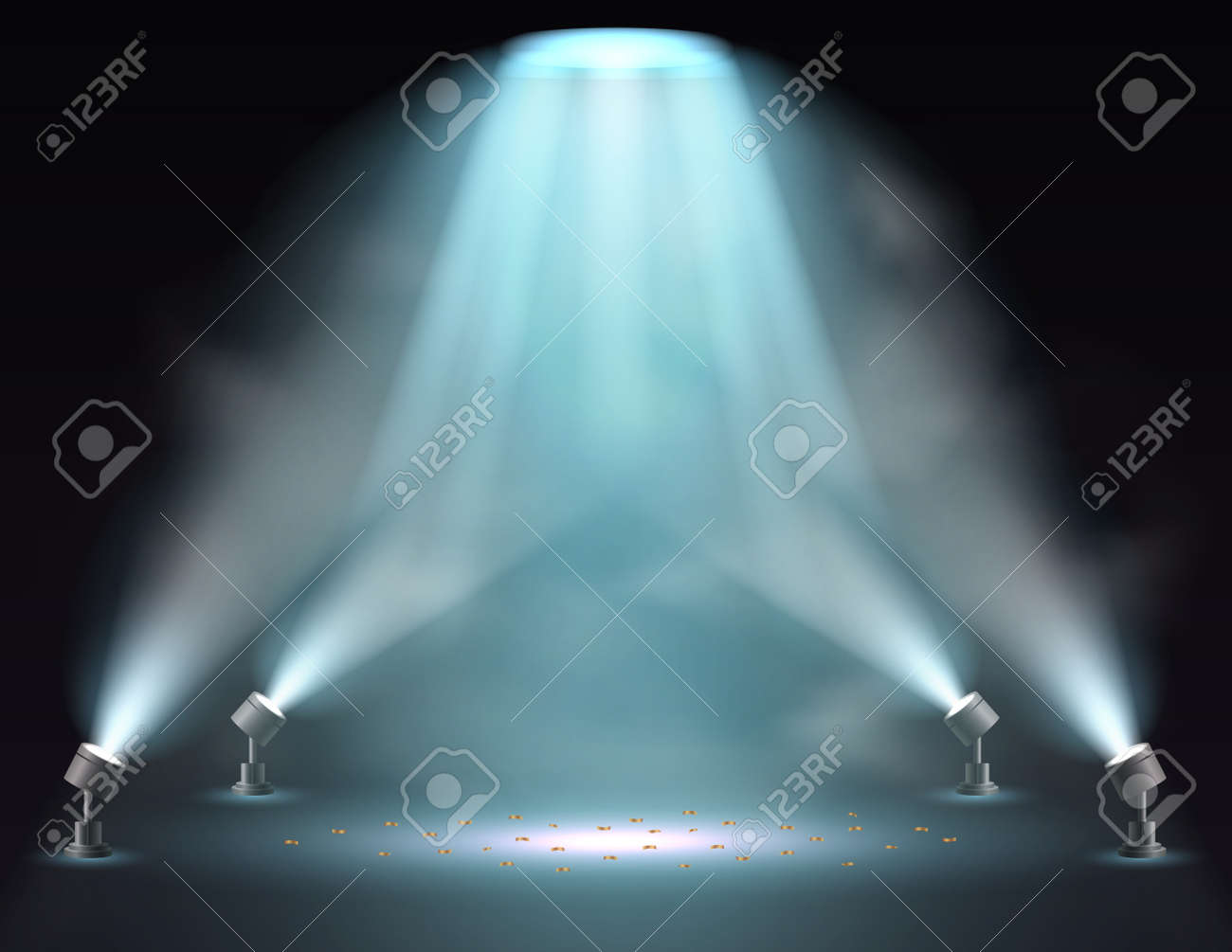 Showtime background illuminated by spotlights - 168266578