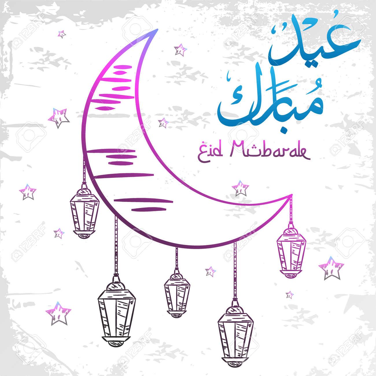 Eid mubarak greeting card on doodle style - 168266575