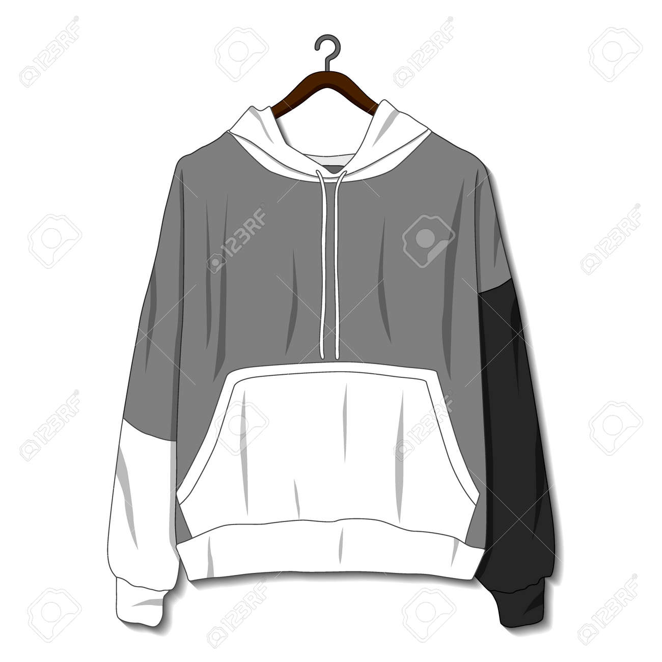Hoodie jacket isolated on white background. Mockup template - 168266583