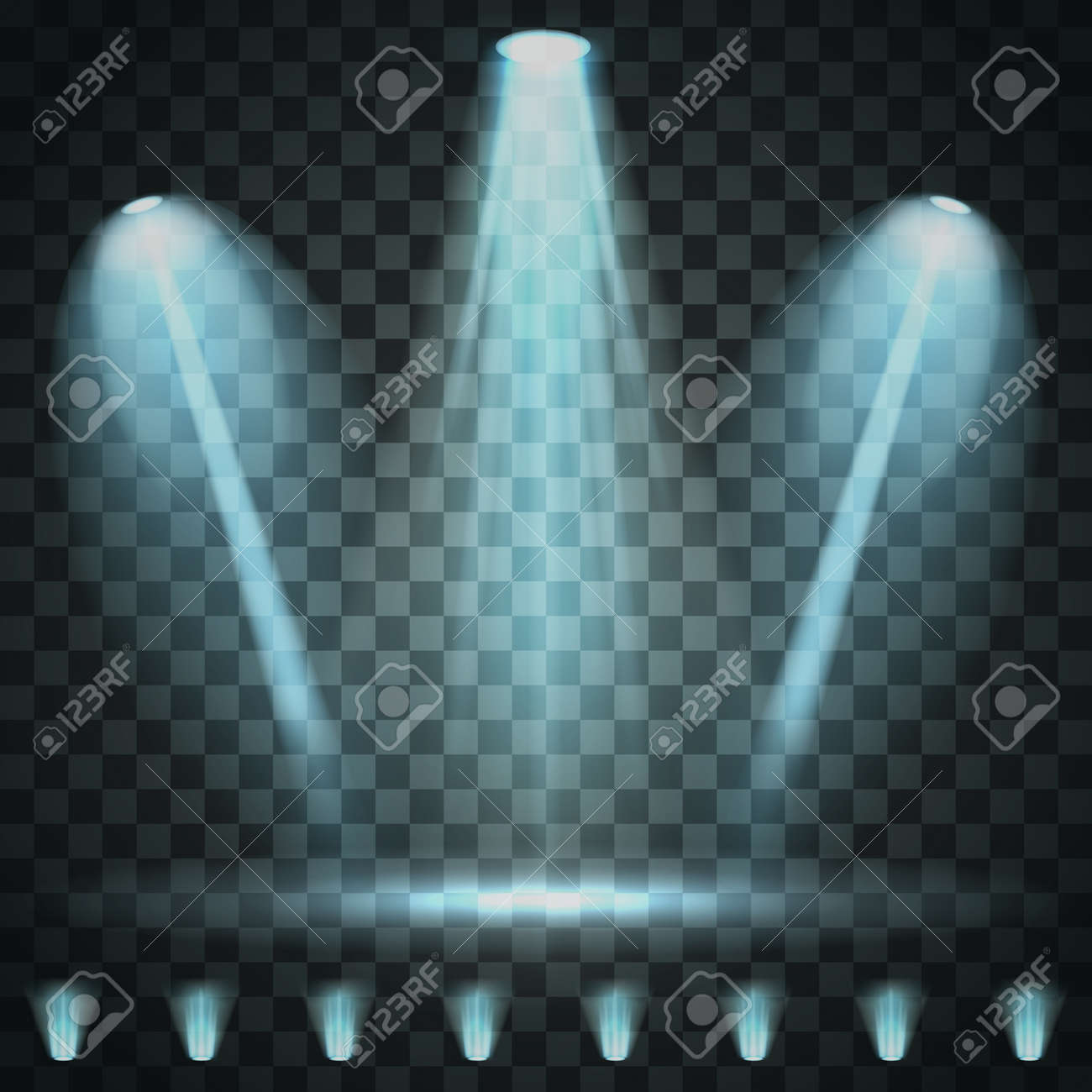 Showtime background illuminated by spotlights - 168266703