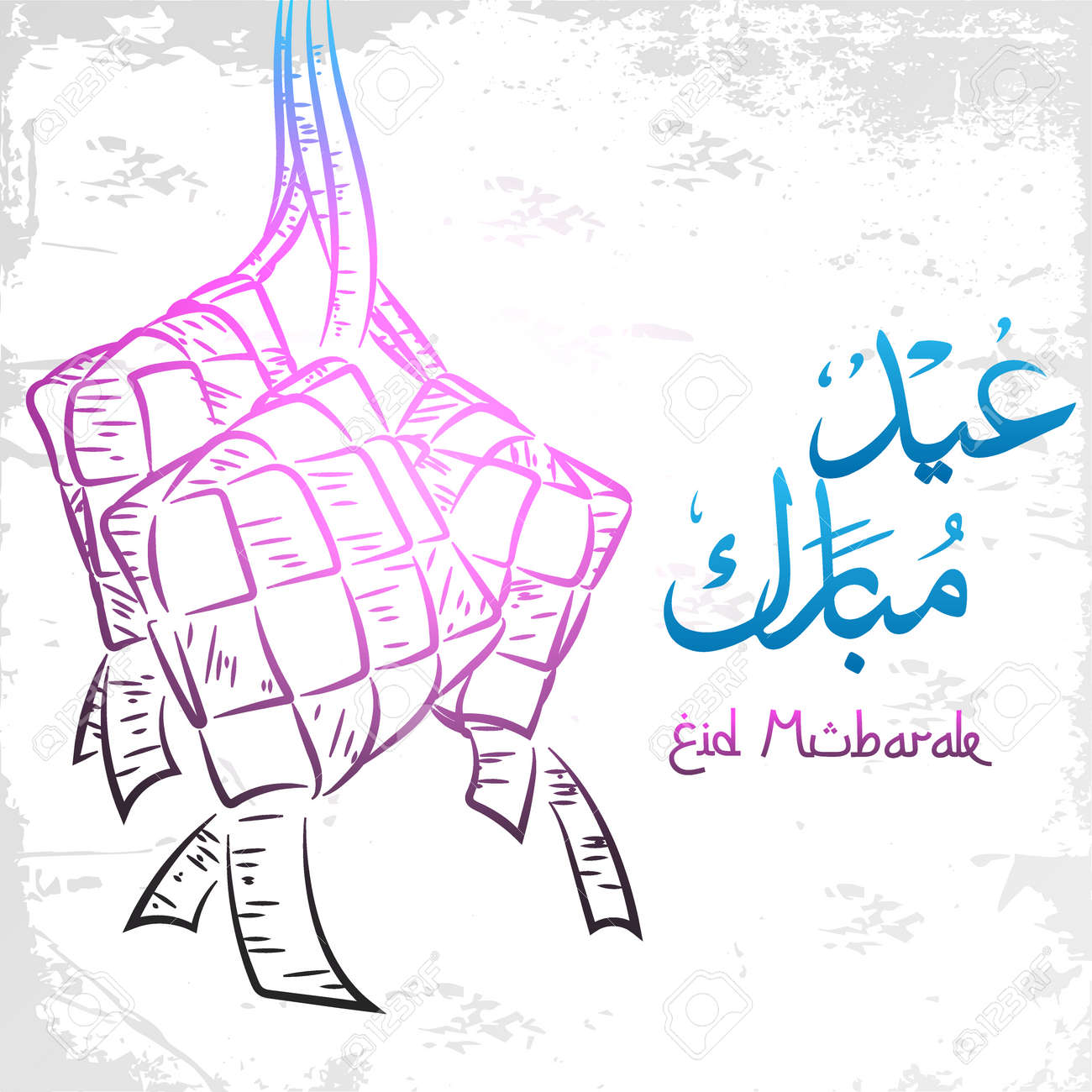 Eid mubarak greeting card on doodle style - 168266867