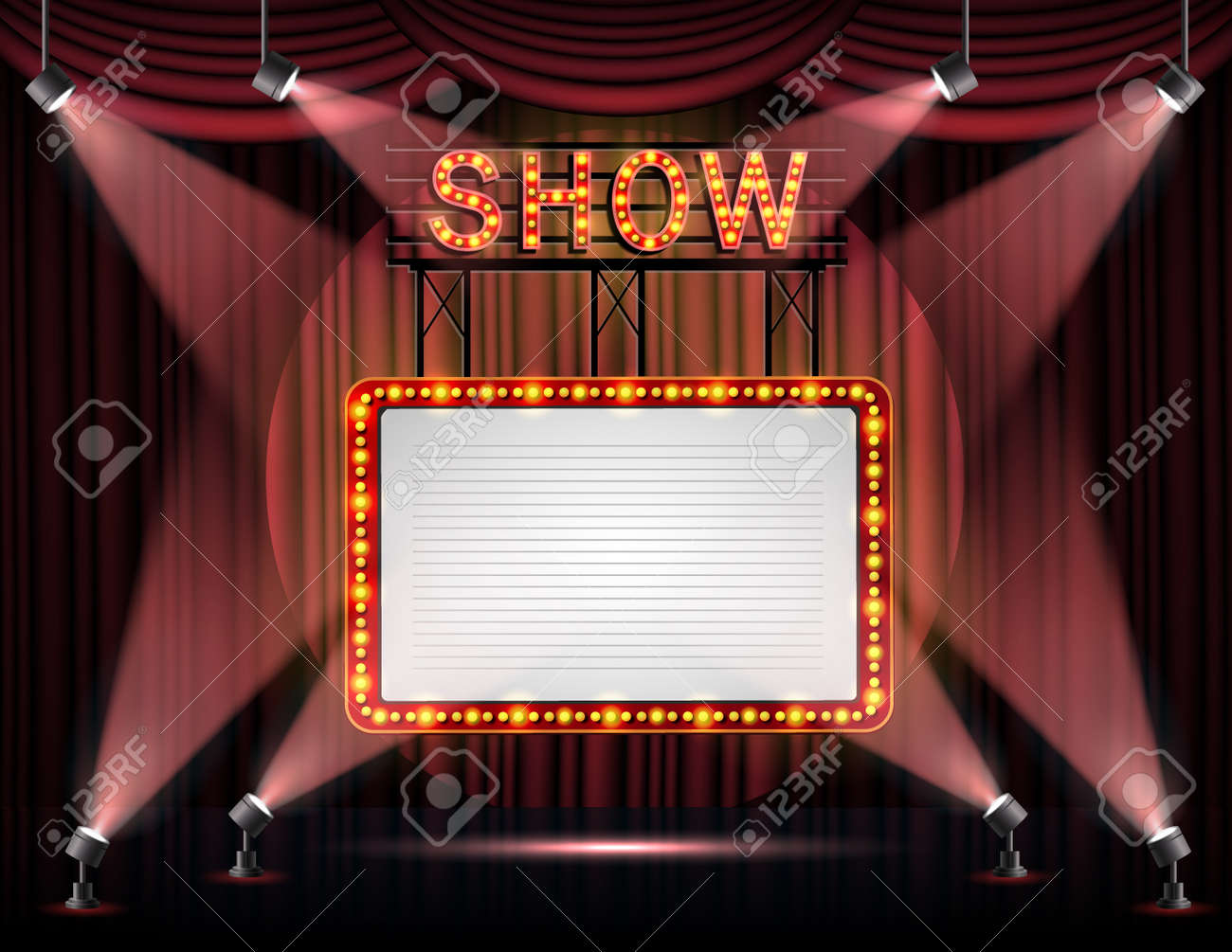Showtime banner with curtain illuminated by spotlights - 168266866