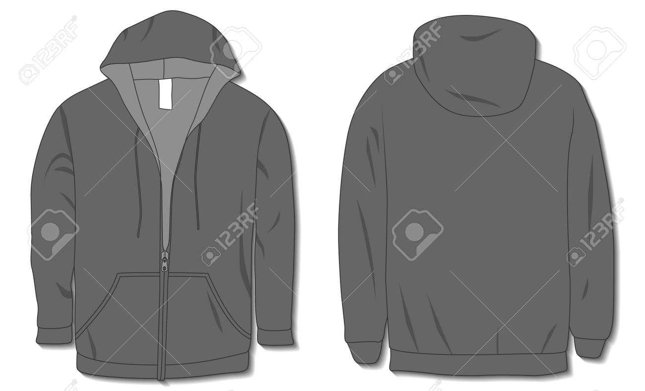 Hoodie jacket with zipper. Mockup template - 168266876
