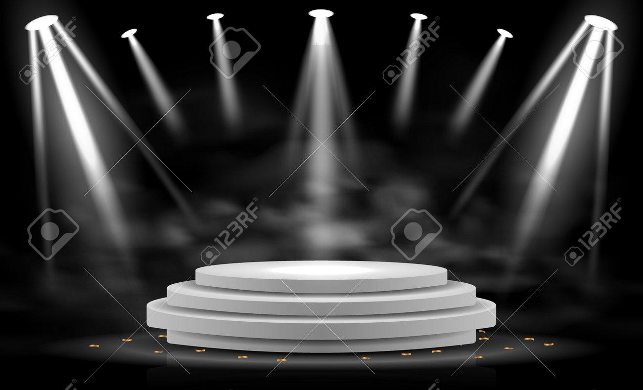 Realistic Stage Podium With Elegant Lighting Spotlight - 171397986