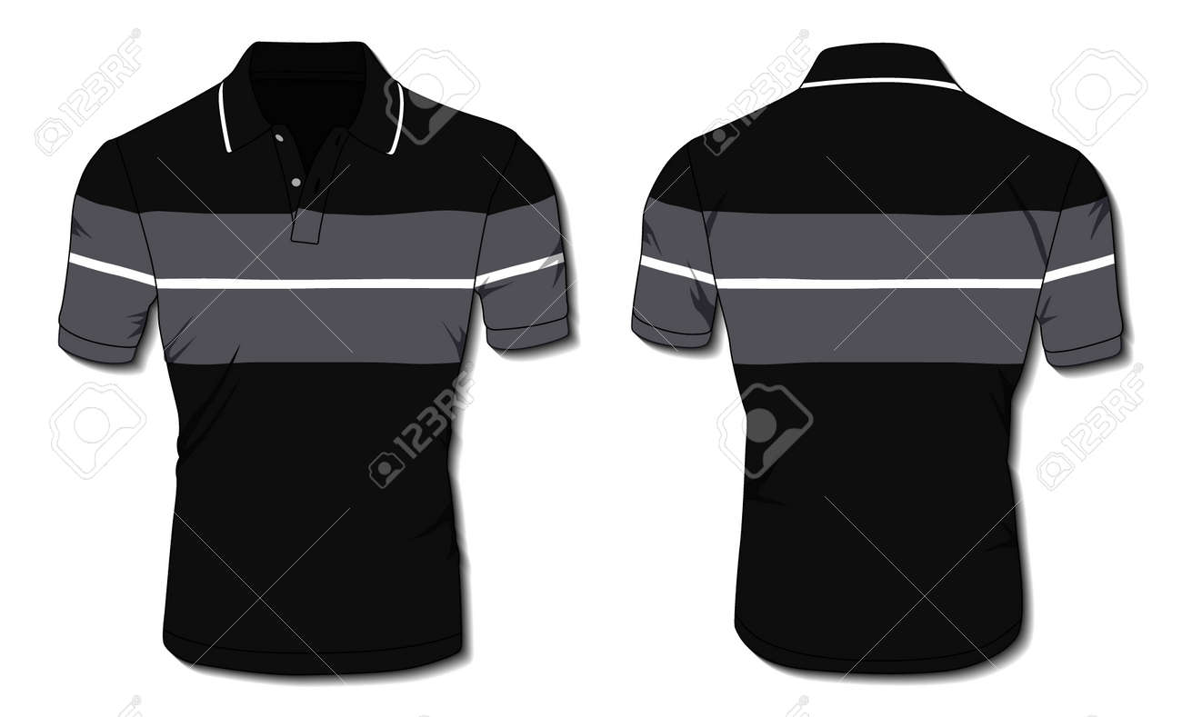 Striped Polo Shirt Template - 171397990