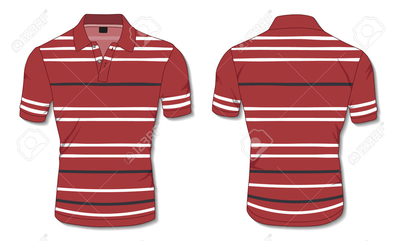 Striped Polo Shirt Template - 171397993