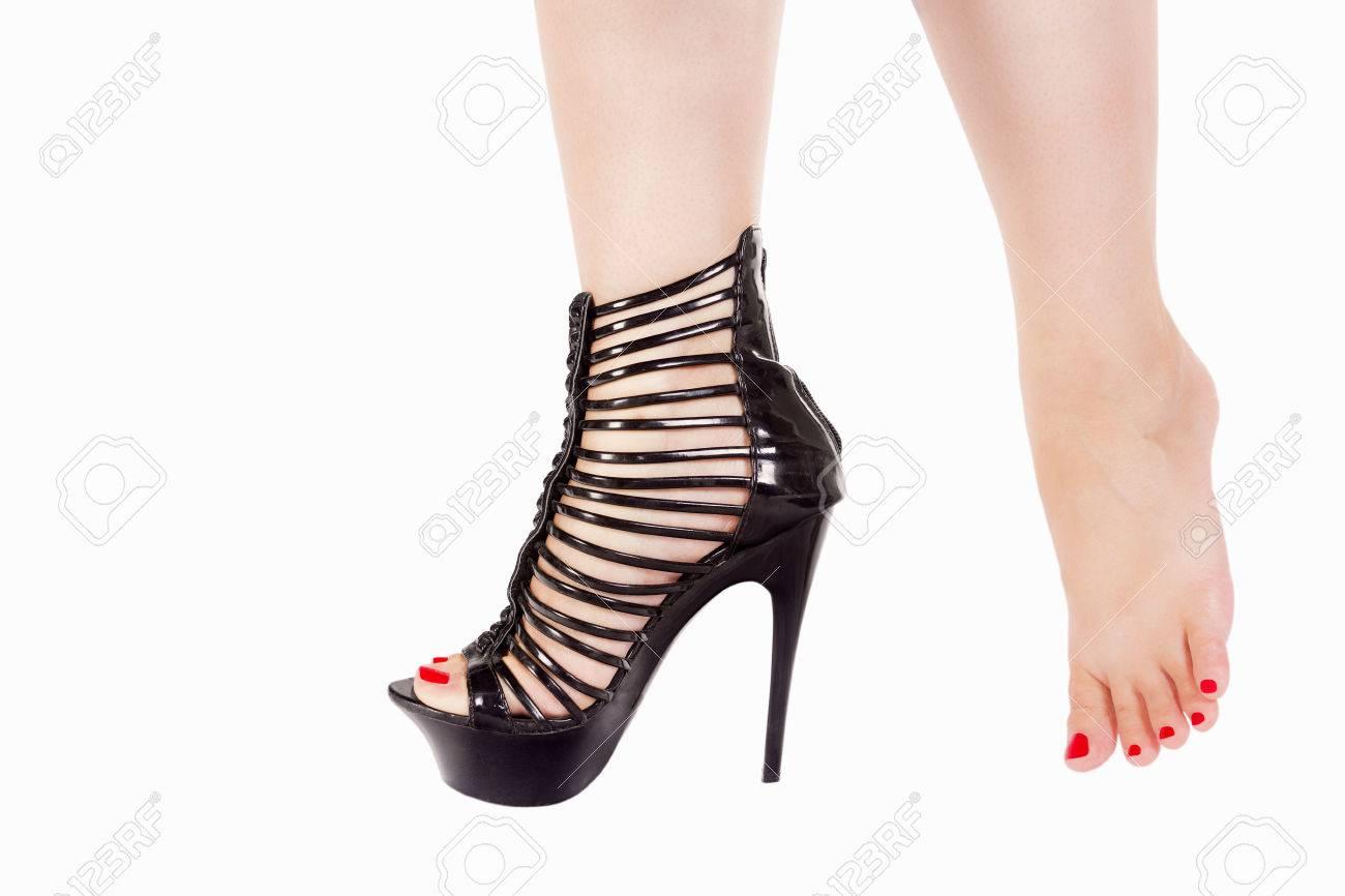 Female Leg With Sexy Black High Heels
