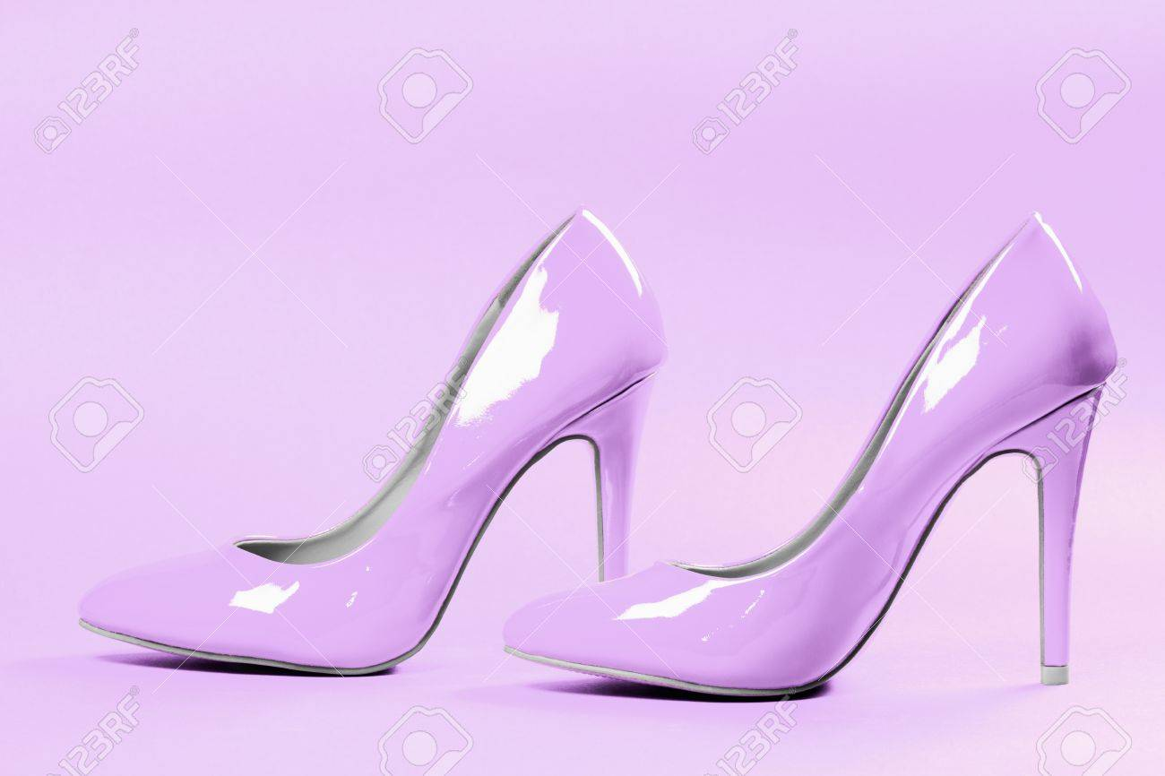 909e2dd3fa8b3 Bright purple high heels sexy shoes are on bright purple background. Stock  Photo - 83781657