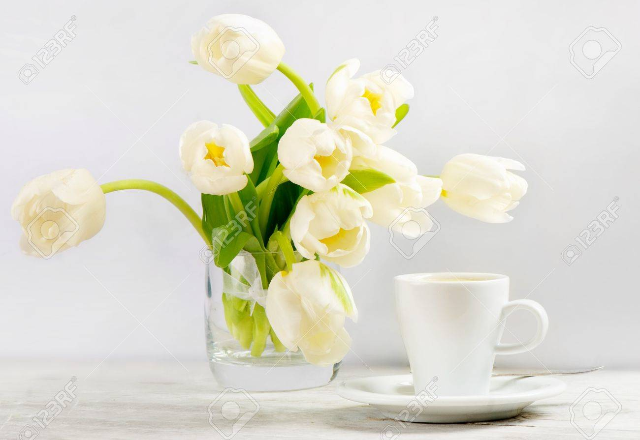 Coffee And Spring Flowers Stock Photo Picture And Royalty Free