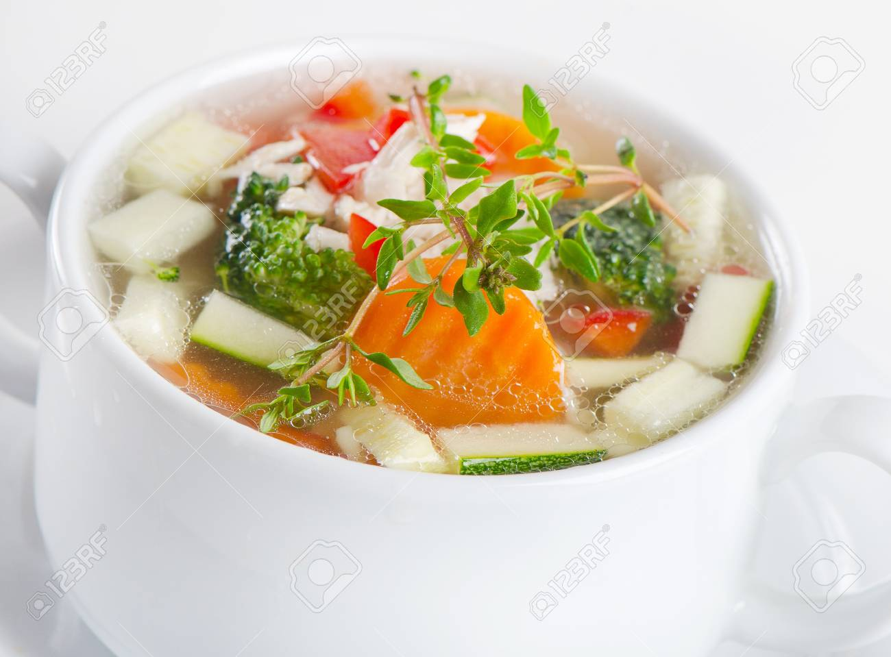 Bowl of Chicken vegetable Soup Stock Photo - 13658728