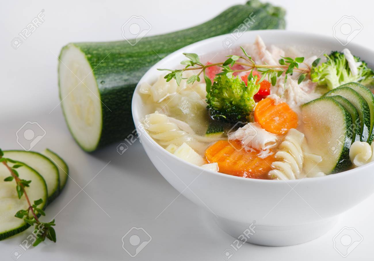 Bowl of Chicken vegetable Soup Stock Photo - 13658764