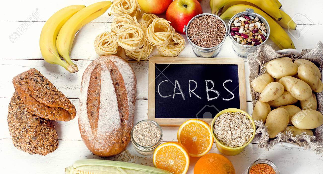 Best Sources of Carbs on a white wooden background. Top view - 88608949