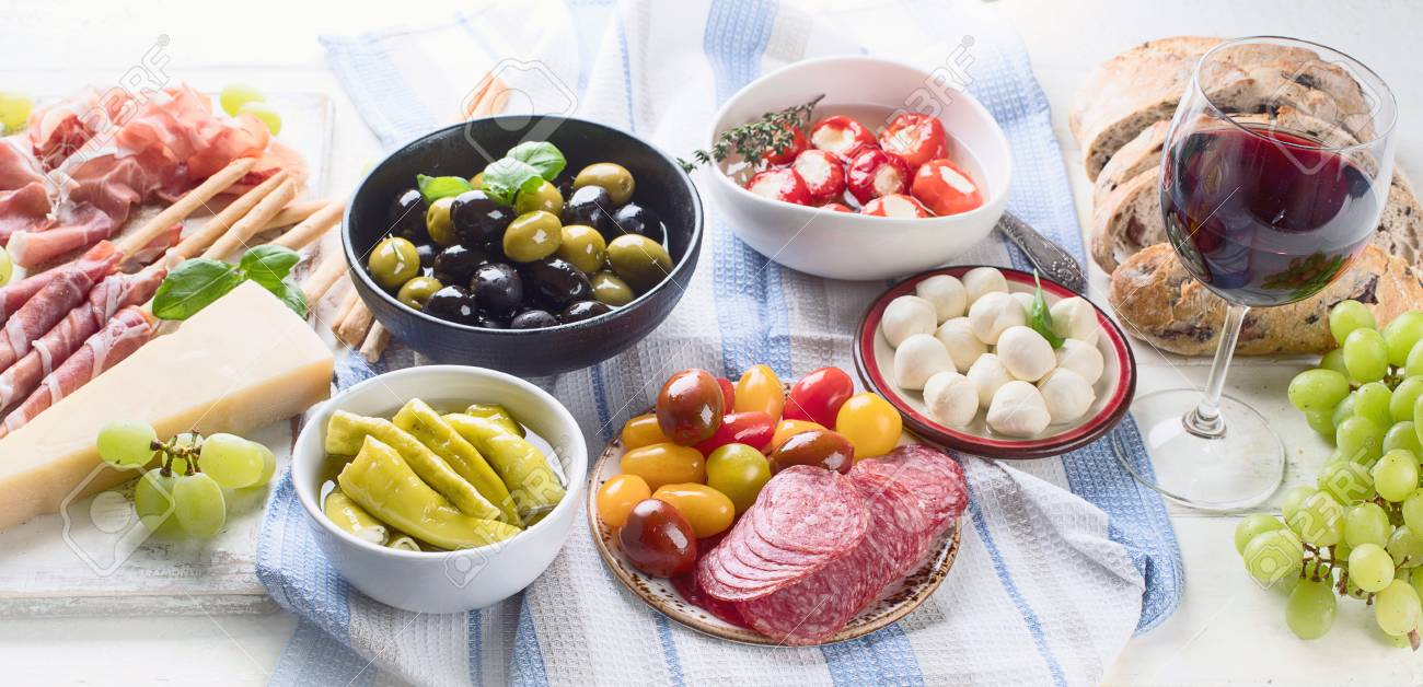 Typical Italian Antipasto Mixed Antipasto Platter Traditional Stock Photo Picture And Royalty Free Image Image 97526141